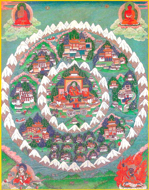 Buddhist Tanka showing Shambhala with Mount Meru in the centre