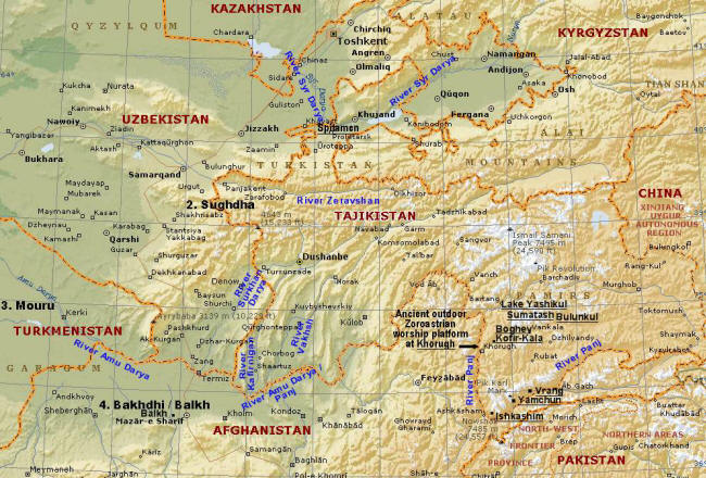 Click to see a larger map of Central Asia with first Vendidad lands