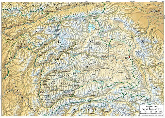 Click to see a larger map of the Pamir-Badakhshan region (see explanation below. Click for a larger map)