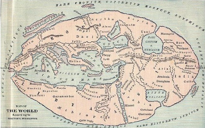 Map based on the descriptions of Dionysius c. 405 BCE