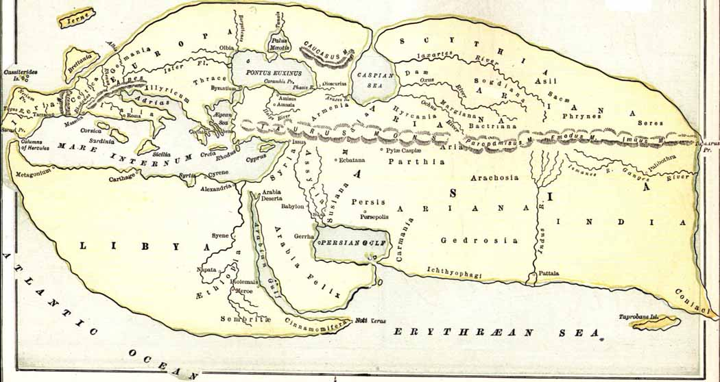 Map of Ariana based on Eratosthenes' data in Strabo's Geography